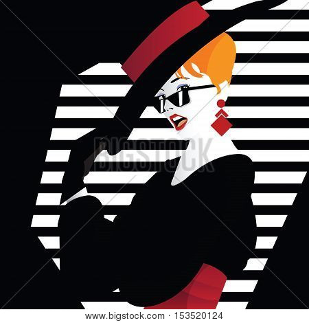 Fashion girl in retro style. Vector illustration.