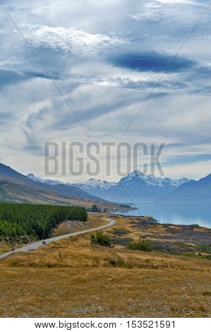 State Highway 80 Or Mount Cook Road Situated Beside Scenic Lake Pukaki Leading To New Zealand's High
