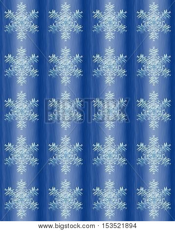 Abstract  brushed winter background with snowflakes. Blue grooved folded background with white decorative snowflakes