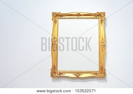 Vintage golden picture frame with blank space