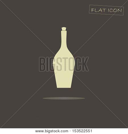 Light vine bottle on black, vector illustration