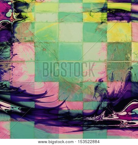 Geometric ancient texture or damaged old style background with vintage grungy design elements and different color patterns: yellow (beige); green; blue; purple (violet); cyan; pink