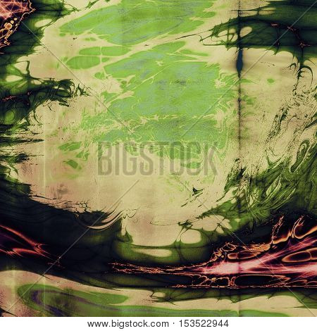 Old style decorative composition or designed vintage template with textured grunge elements and different color patterns: yellow (beige); green; red (orange); cyan; pink; black