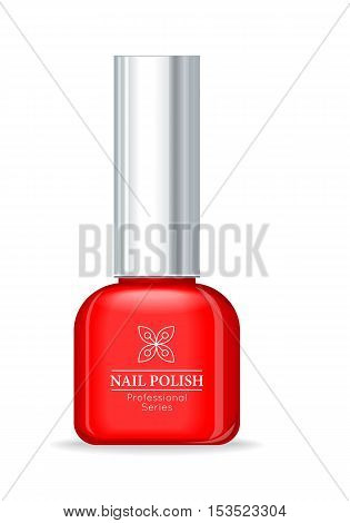 Nail polish professional series red bottle. Women nail accessory. Bright stylish modern color. Glamour cosmetics. Manicure and pedicure product. Part of series of decorative cosmetics. Vector