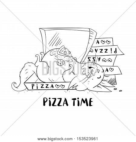 Funny cat isolated on white background. Fat cat sleeping in a box from under the pizza. Funny fat cat in cartoon style. Vector illustration.