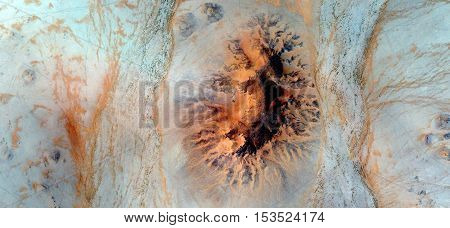 orange point on background turquoise, Abstract photography of landscapes of deserts of Africa from the air