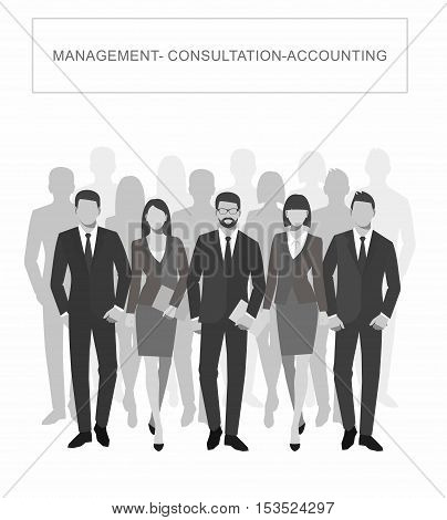 Business men and women silhouette. team business people group hold document folders