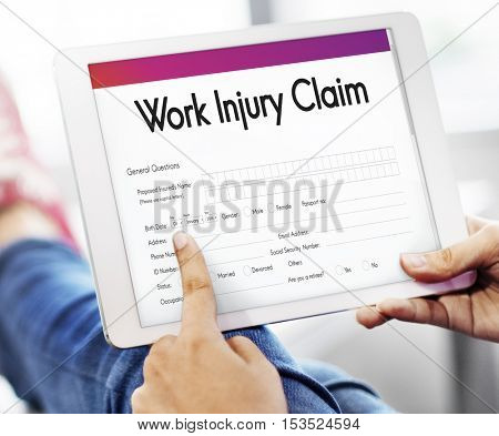 Work Injury Claim Application Form Information Concept