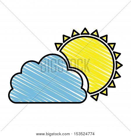 cloud and sun representation icon image vector illustration design
