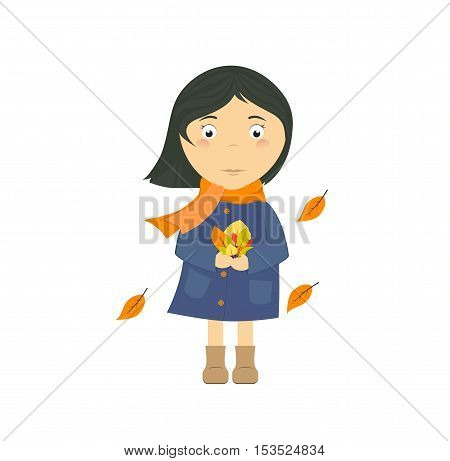 Autumn girl. A little girl with a bouquet of autumn leaves
