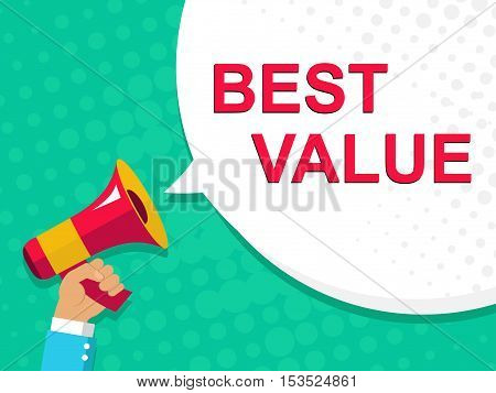 Megaphone With Best Value Announcement. Flat Style Illustration