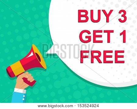 Megaphone With Buy 3 Get 1 Free Announcement. Flat Style Illustration