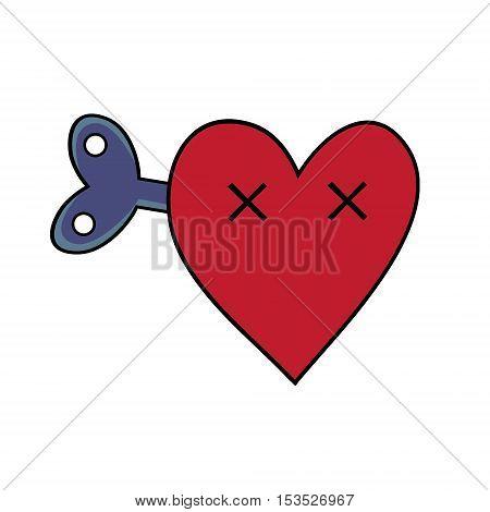 Dead heart with a clockwork mechanism. Modern flat style vector heart illustration.