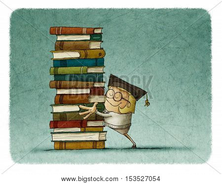 illustration of a girl graduate hugging a stack of book