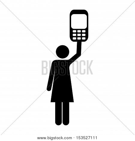 cellphone and woman pictogram icon image vector illustration design