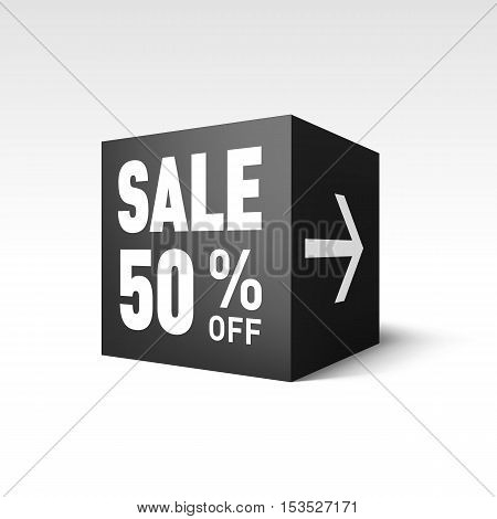 Black Cube Banner Template for Holiday Sale Event. Fifty Percent off Discount