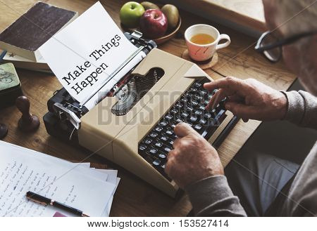 Journalism Working Typewriting Workspace Concept