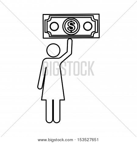 cash money and woman pictogram icon image vector illustration design