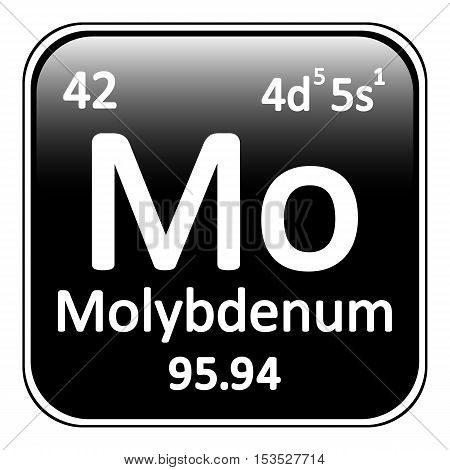 Periodic table element molybdenum icon on white background. Vector illustration.
