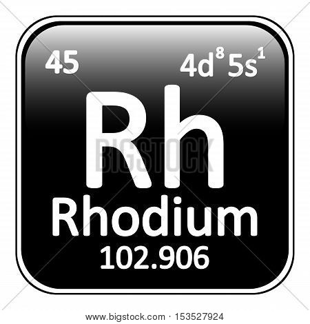 Periodic table element rhodium icon on white background. Vector illustration.