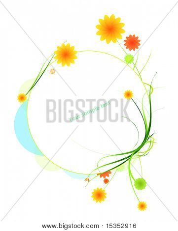 Vector floral frame with flowers