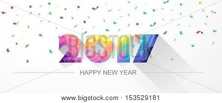 Happy new year 2017. Low poly design. Vector illustration