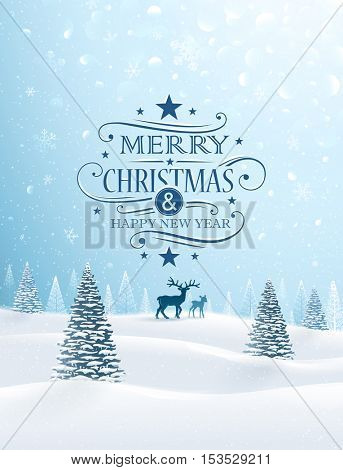 Christmas card with reindeer and snowflakes. Vector illustration