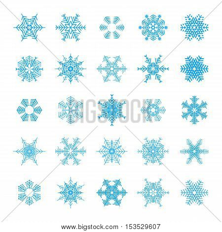 Snowflake simple icon set isolated on white background for winter design and decoration