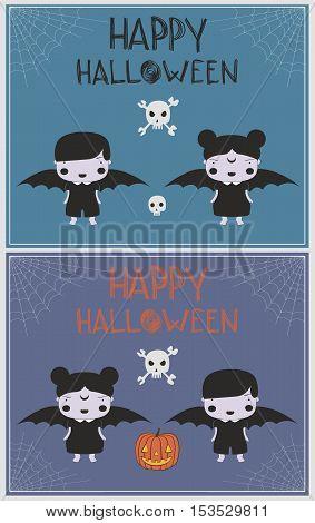 Vampire costume happy kids greeting card set
