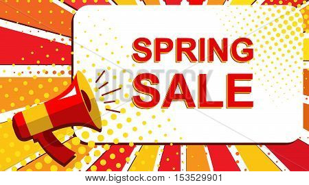 Megaphone With Spring Sale Announcement. Flat Style Pop Art Illustration