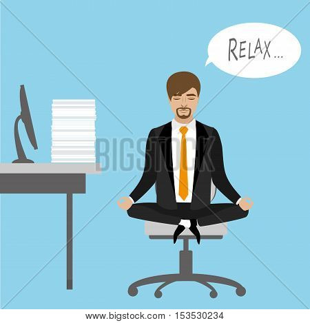 Office worker relaxes and meditates in the lotus position on the job vector illustration
