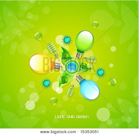 Light bulbs composition on green juicy background