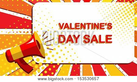 Megaphone With Valentine's Day Sale Announcement. Flat Style Pop Art Illustration