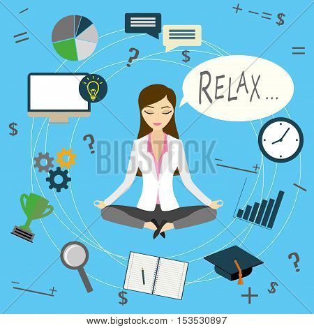 Office worker or business woman relaxes after work cartoon vector illustration