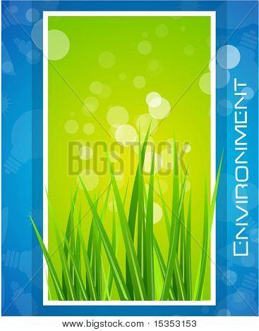 Environmental design with grass into white frame