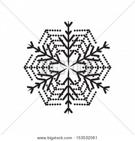 Snowflake simple icon isolated on white background for winter design and decoration