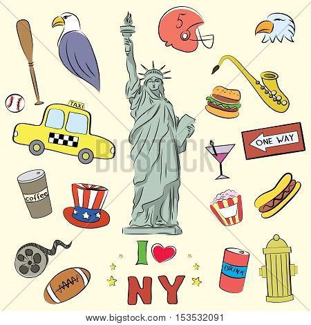 I love New York. Hand drawn doodle elements ,objects or icon. vector illustration
