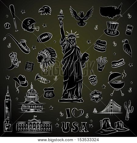 New York doodle line set. Hand drawn elements. American travel symbols. Vector pattern