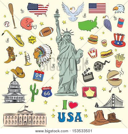 I love the United States a set of characters icons objects. doodle style vector illustration