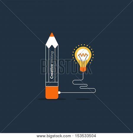 Writing education concept. Flat design vector illustration