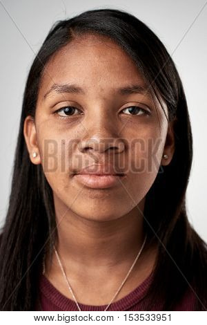 Portrait of real black african woman with no expression ID or passport photo full collection of diverse face and expressions