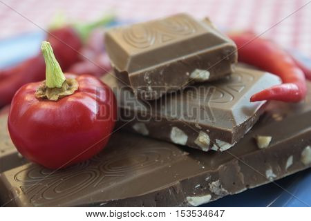 chocolate at hot chilli pepper and hazelnuts