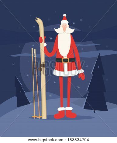 Happy Santa Claus in the woods with skis. Holiday vector illustration.