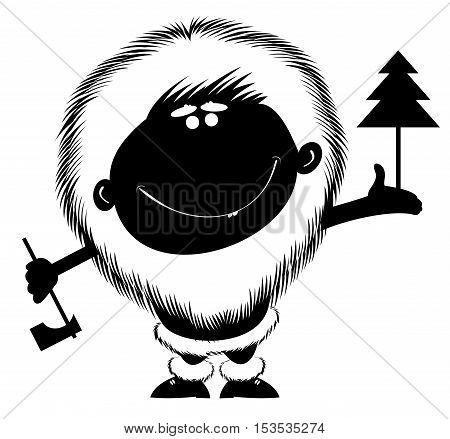 Cartoon man with axe and fir. Comic cartoon man with axe carries a fir on the palm