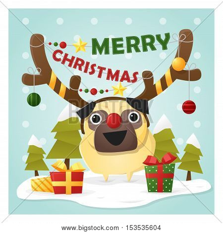Merry Christmas Greeting Card with dog wearing reindeer costume , vector , illustration