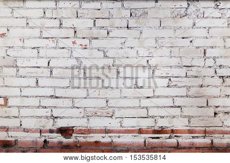 White Vintage Brick Wall Surface Background