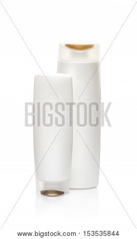White shampoo bottles isolated on white. Path included. Isolated