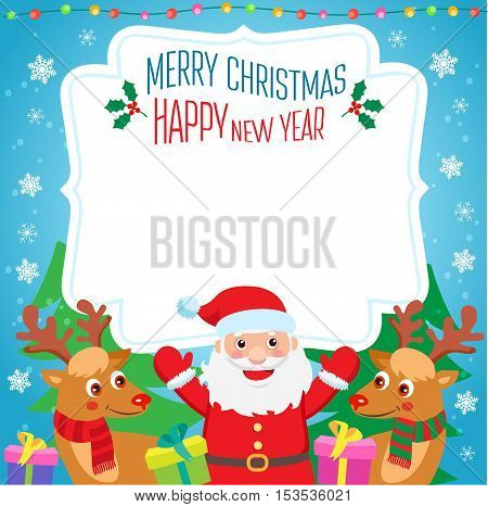 New Year Background Design Vector. Cartoon Illustration Santa Deer Christmas tree and New Year Gifts. Funny Christmas Holidays Invitation Poster Background Vector Template.