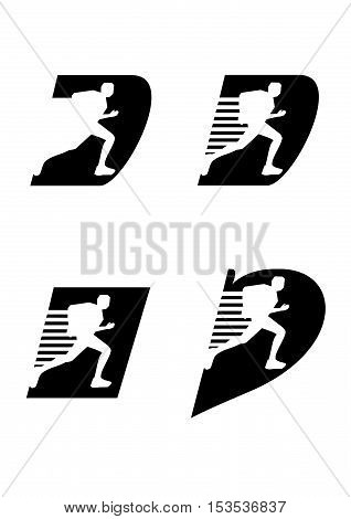 Four profile runner icons on black backround