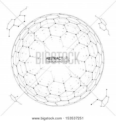 Physics and chemistry science concept with hexagonal grid vector spheres with fragments isolated on white background